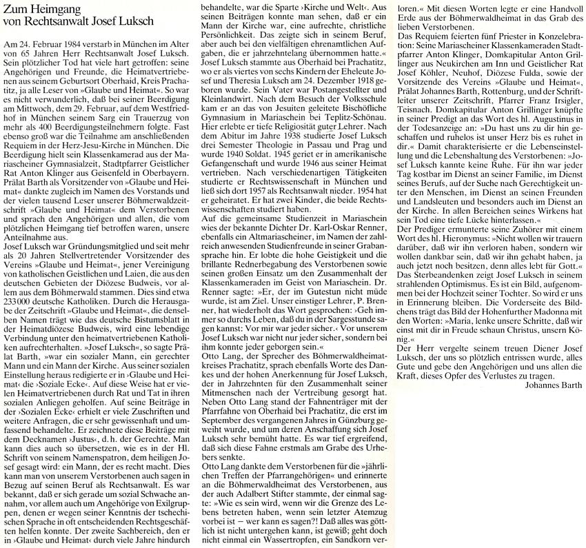 Prelát Johannes Barth mu věnoval na stránkách krajanského časopisu tento obsáhlý nekrolog
