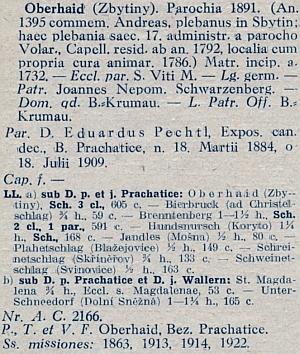 Farář Pechtl ve Zbytinách v latinském katalogu diecéze z roku 1929