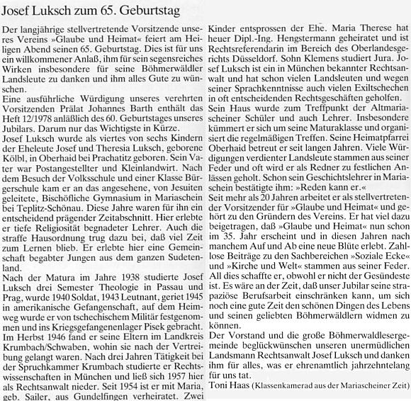 Pozdrav bývalého spolužáka Antona Haase k Lukschovým pětašedesátinám