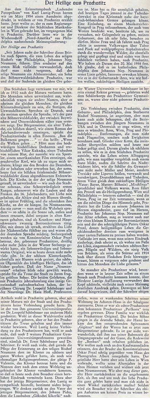 Polemika s jeho textem o Prachaticích a svatém Janu Nepomuku Neumannovi v krajanském časopise