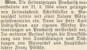 """Zpráva o """"domovském večeru"""" ve Vídni, jehož se účastnil i Herbert von Marouschek a Franz Pöschko a kde Lustig-Prean četl ze svých vlastních prací"""