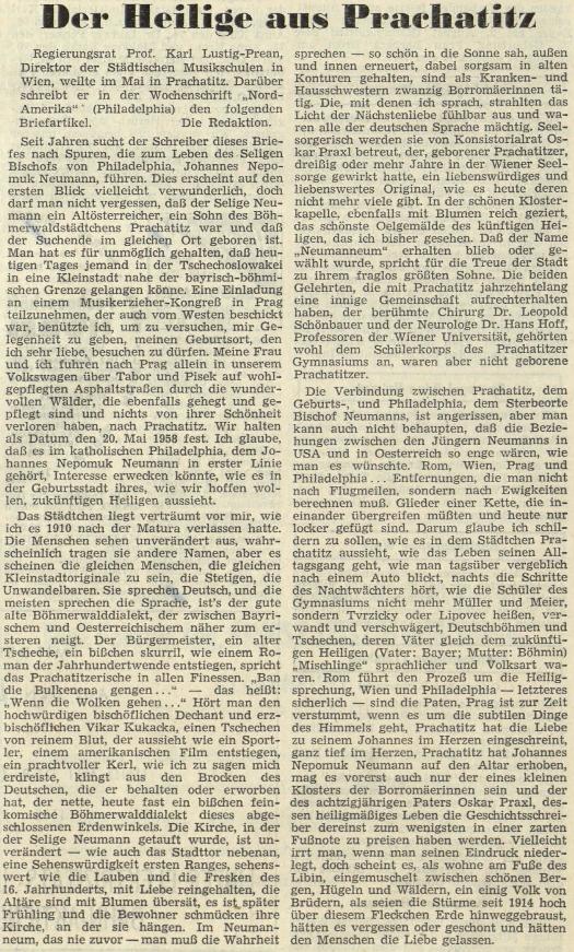 Jeho článek o Janu Nepomuku Neumannovi na stránkách rakouského krajanského listu
