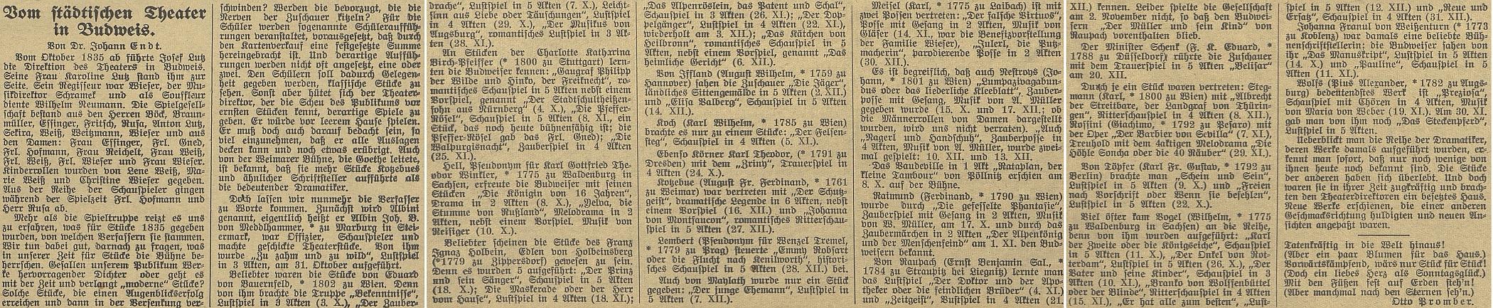 Originál Endtova článku v Budweiser Zeitung