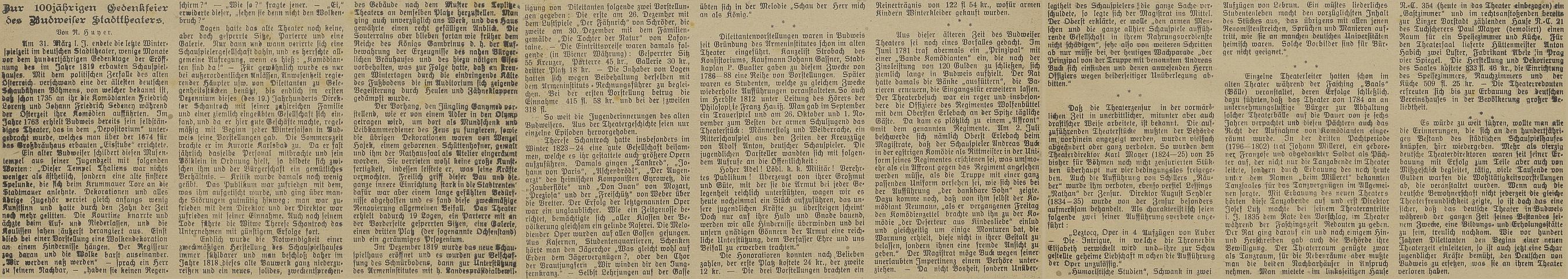 Autorem článku ke 100 letům českobudějovického divadla, který zmiňuje i Lutze, byl v místním německém listu Reinhold Huyer
