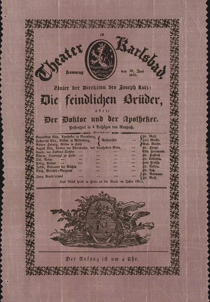 Plakát divadelního představení v Karlových Varech pod režií Josepha Lutze z června 1835, těsně před jeho příchodem do Českých Budějovic