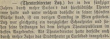 Zpráva o Lutzově úmrtí v českobudějovickém německém listu