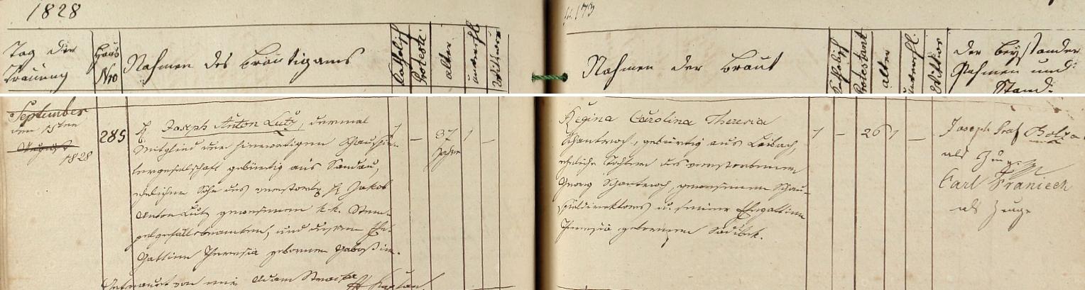 Záznam karlovarské oddací matriky o jeho zdejší svatbě 15. srpna 1828 - ženichovi bylo 37 let, nevěstě 26 let