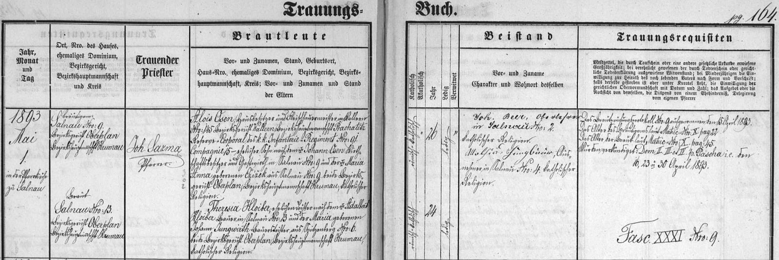 Záznam želnavské oddací matriky, psaný rukou zdejšího faráře Johanna Sazmy, o zdejší svatbě otcových rodičů, tj. Aloise Osena, majitele domu a řeznického mistra ve Volarech (Wallern) čp. 145, jinak záložního kaprála c.k. pěšího pluku č. 91, kumpanie 15, syna majitele hospodářství a hostinského v Želnavě (Salnau) čp.9 Johanna Osena a Anny, roz. Cžížek ze Želnavy čp. 9, s Theresií Kloiberovou, manželskou dcerou Adalberta Kloibera, rolníka v Želnavě čp. 3, a Marie, roz. Jungwirthové, selské dcery ze Spitzenbergu (osada zanikla pod českým místním jménem Hory) čp. 6