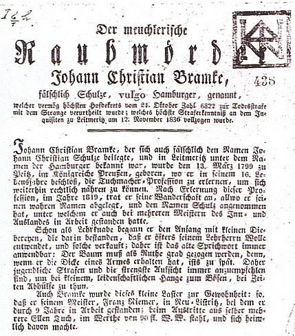 Kramářský tisk (1837) o loupežném vrahovi Bramkeovi, soukenickém tovaryši, pracujícím i v Nové Bystřici, na jehož listopadovou popravu roku 1836 v Litoměřicích se prý Mácha těšil