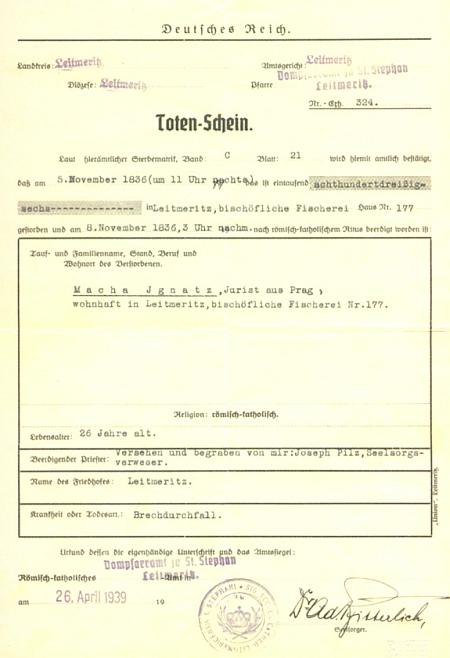 """Průvodčí pas Máchových pozůstatků, vystavený v dubnu roku 1939 v tehdy už """"říšskoněmeckých"""" Litoměřicích německým knězem pro převoz na pražský Vyšehrad"""