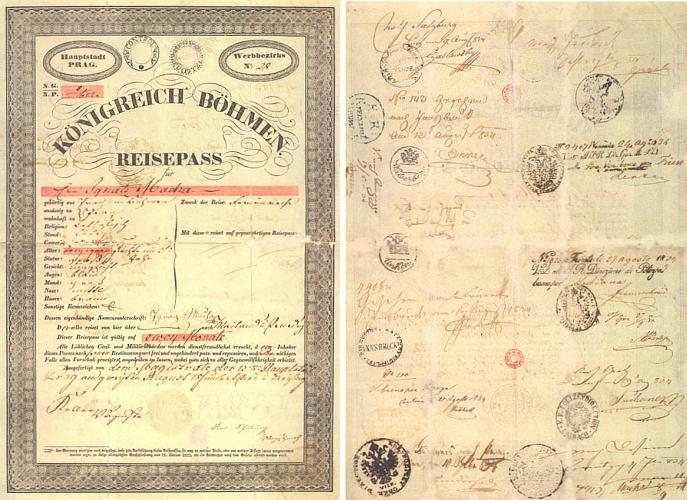 Cestovní pas z roku 1834, platný na dva měsíce
