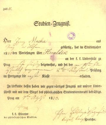 Jeho osvědčení o zápočtu z heraldiky na pražské univerzitě s datem 7. srpna roku 1833