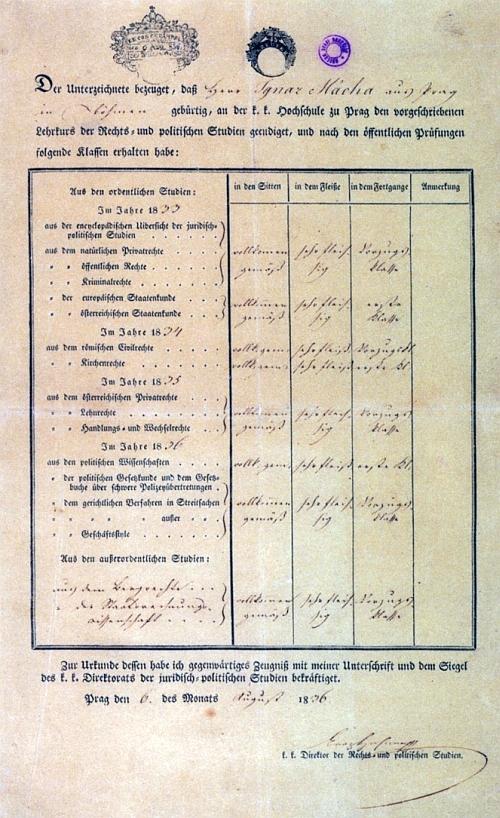 Vysvědčení z právnické fakulty vystavené s datem 6. srpna roku 1836 - v noci z 5. na 6. listopadu toho roku, tedy 3 měsíce nato, Mácha umírá