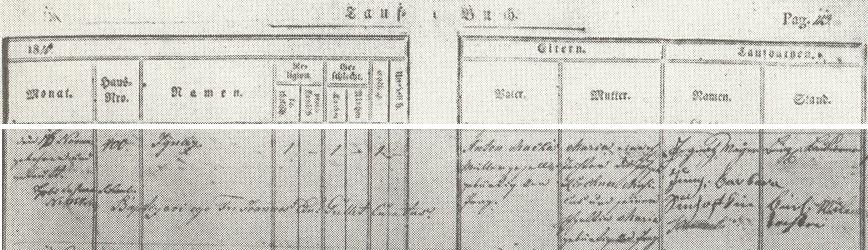 Německy psaný záznam o Máchově křtu u Panny Marie Vítězné dne 16. listopadu roku 1810 jménem Ignaz - otec Anton Mácha (1769-1834) byl vyučený mlynář, tehdy stárek ve mlýně Barbory Jungové, matka Marie Anna (1781-1840) byla rozená Kirchnerová a její otec Josef Kirchner byl známý hudebník, varhaník u sv. Mikuláše na pražské Malé Straně