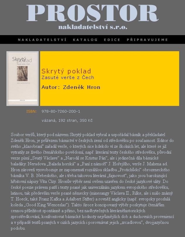 """Webová anonce na antologii, zahrnující i můj překlad Máchovy německé básně """"O Muse"""""""