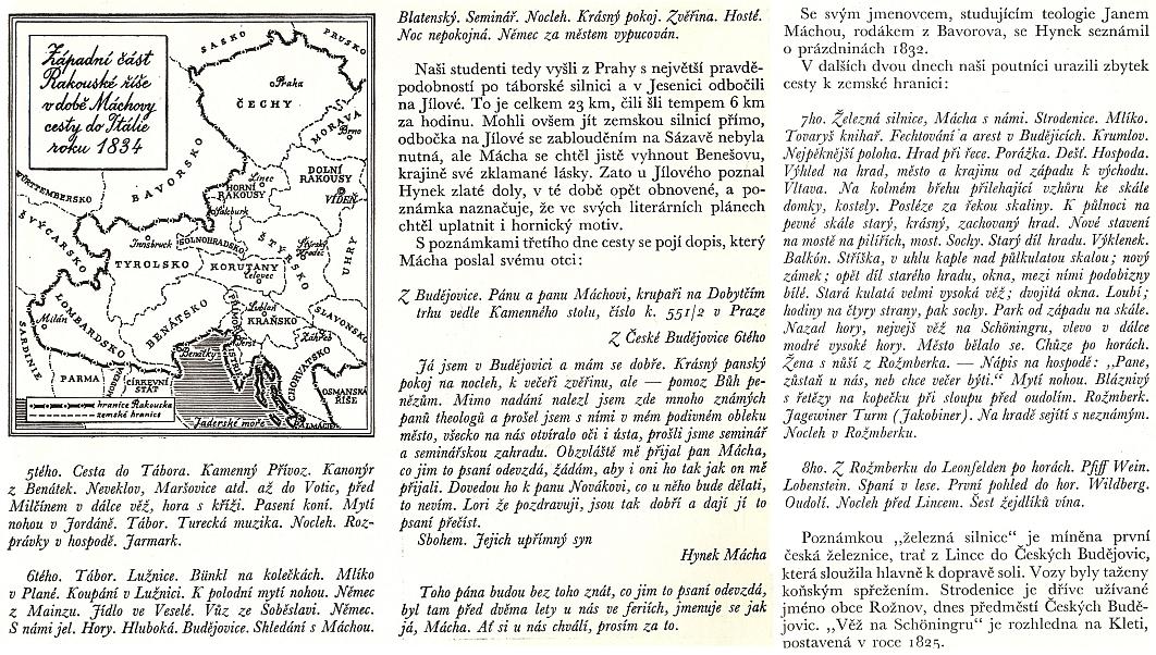 Mapka k Máchově cestě do Itálie a popis její jihočeské části