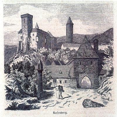 """Boží muka před původní městskou branou v Rožmberku nad Vltavou na ilustraci Eduarda Herolda z monografie """"Der Böhmerwald"""" (1860) od Wenziga a Krejčího, vpozadí hrad akulatá věž zvaná Jakobínka, zmíněná vdeníku Máchově zcesty do Itálie jako """"Jagewiner Turm"""""""