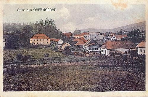 """Stará kolorovaná pohlednice zachycuje i hostinec """"U Boubína"""""""
