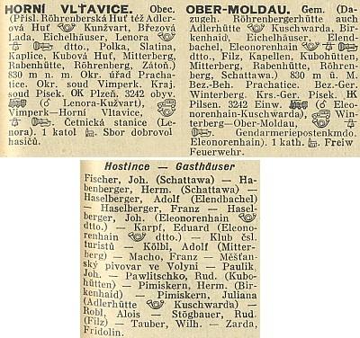 Tolik bylo kdysi hostinských v obci Horní Vltavice, mezi nimi i Franz Macho