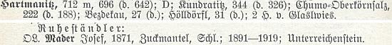 Tady je na stránkách soupisu německého učitelstva z roku 1933 uveden už jako důchodce