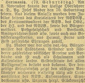 """Blahopřání k sedmdesátinám """"Pg. Josefa Madera"""" nastránkách českobudějovického německého listu"""