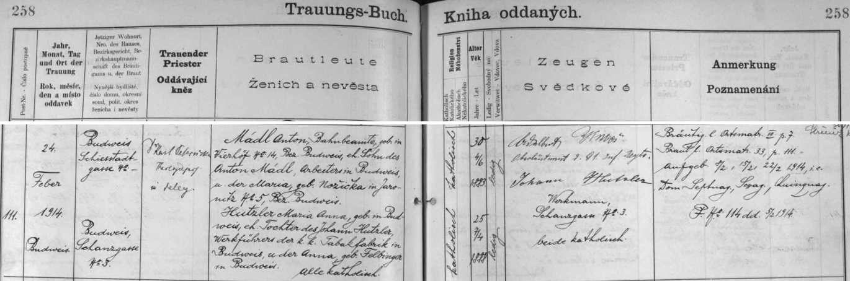 Záznam o svatbě rodičů v českobudějovické oddací matrice