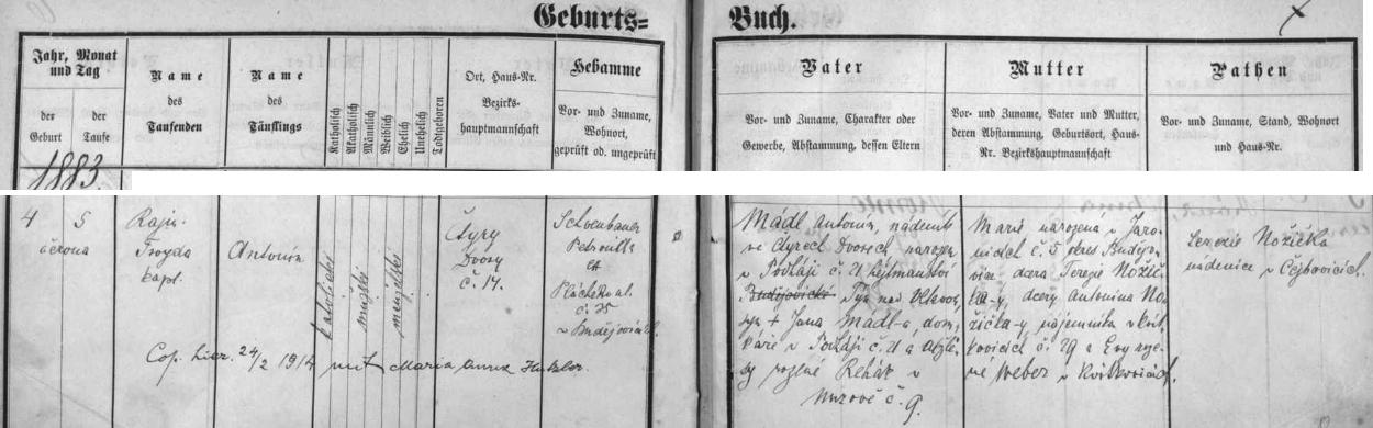 Český záznam o narození otcově v českobudějovické křestní matrice s přípisem o svatbě s Marií Annou Hutzlerovou