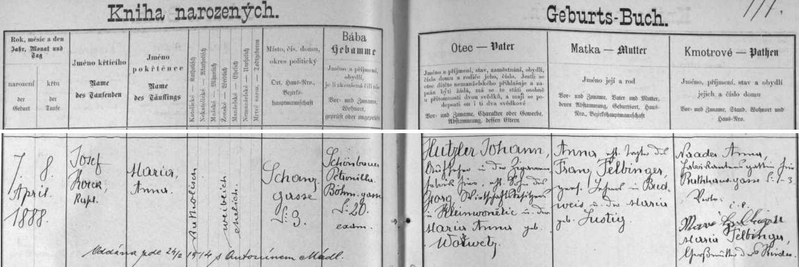 O matčině budoucí svatbě se dočítáme v českobudějovické křestní matrice z pozdějšího přípisu k záznamu o dívčině narození