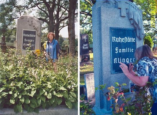 Hrob rodiny Klingerovy v Benešově nad Černou - je tu pochován její otec, holič a kadeřník Engelbert Klinger, narozený 9. září roku 1895 a zesnulý 22. února 1938