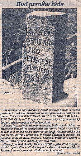 Článek v příloze Deníku Jihočeská pravda z 30. 10. 1992