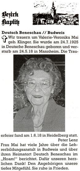 Zpráva o jejím úmrtí v krajanském časopise
