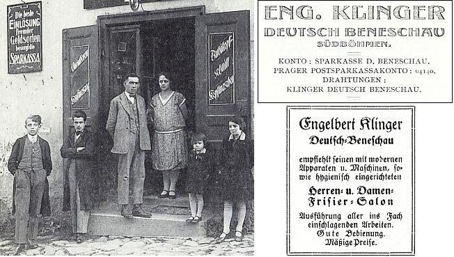 Její tatínek Engelbert Klinger a jeho žena Mitzl, roz. Hoffelnerová, v roce 1930 před otcovou holičskou oficínou vNěmeckém Benešově, vlevo učňové Berti a Peppi Postlovi, vpravo dcery manželů Klingerových Wally a Mizzi