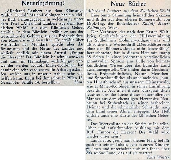 Anotace od Ericha Hanse a recenze jeho knihy od Karla Wintera na stránkách krajanského měsíčníku
