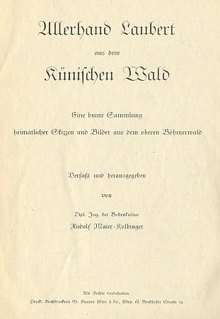 Obálka, frontispis s vlastnoručně kreslenou mapkou a titulní list jeho práce, nikde neoznačené letopočtem vydání