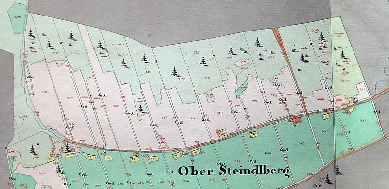 Někdejší Horní Ždánidla na mapě stabilního katastru (1837, revidováno kolem roku 1880)