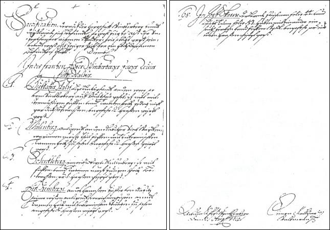 """První a poslední strana """"Popisu lesů panství Vimperk"""" s vlastnoručním podpisem Simona Maliny a datem 10. srpna 1710"""