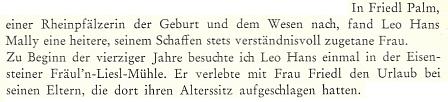 V jedné vzpomínce na jejího manžela se zmiňuje Sepp Skalitzky i o ní a o možném prameni některých jejích povídkových textů, totiž pobytech v Železné Rudě, blízkém Debrníku a v Hůrce s památkami na rod Hafenbrädlových