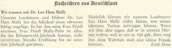 Tady vyjadřuje Erich Hans na stránkách krajanského měsíčníku soustrast jejímu manželovi poté, co 5. března 1971 zemřela