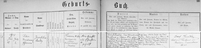 Narodil se podle tohoto záznamu křestní matriky farní obce Hamry dne 18. července roku 1901 jako Josef Leo Mally knížecímu hohenzollernskému lesnímu adjunktovi v Hamrech čp. 60 Josefu Mallymu, narozenému v Ostračíně (Wostračín) čp. 13, synovi tamního lesního Georga Mallyho a Margarethy, roz. Pröglerové z Úporu (Anger) čp. 11, ajeho ženě Regině, dceři přednosty železniční stanice v Hamrech čp. 83 Josefa Hrušky, který je zde i podepsán jako kmotr dítěte, a Johanny, roz. Heimburgerové z Karlsruhe ve velkovévodství Bádensko (Baden)