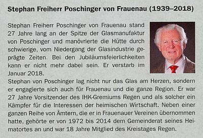 Zpráva o úmrtí Stephana von Poschingera v lednu roku 2018