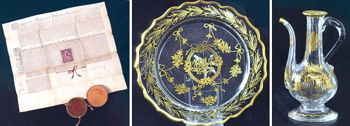 Dopis z roku 1547 o propůjčení rodového erbu a dva kusy z dvanáctidílného servisu, nesoucího monogramy jednoho z Poschingerů