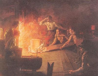 Stále ještě působivý obraz nazvaný Skláři má své místo i v dnešním podniku Poschingerových ve Frauenau