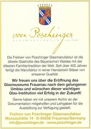 """Inzerát """"sklářské manufaktury"""" von Poschinger, založené už v roce 1568, doprovází současný erb baronského rodu"""