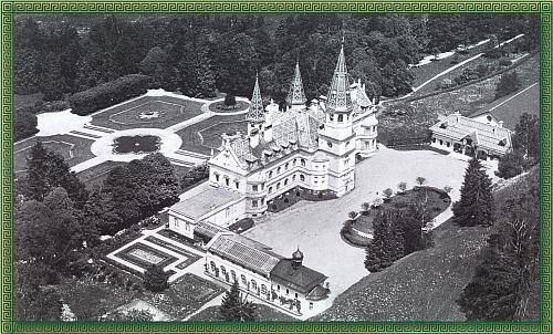 """Celkový pohled na zámek v Oberfrauenau, zlikvidovaný v létě 1959 komandem """"horských průkopníků"""" (Gebirgspionierkommando) bundeswehru za použití asi 750 kilogramů trhavin"""