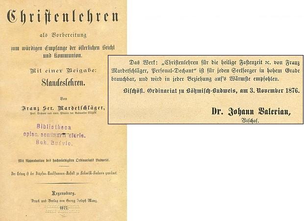 Titulní list (1877) jiné jeho knihy, vydané v bavorském Řezně a provázené doporučením českobudějovického biskupa Jana Valeriána Jirsíka