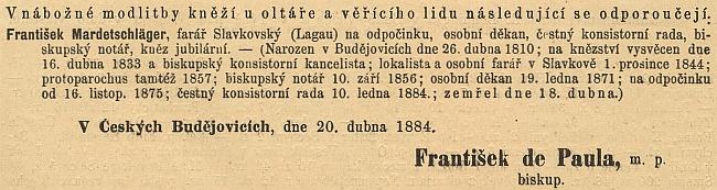 Zpráva o jeho úmrtí v ordinariátním listu budějovické diecéze