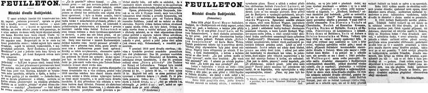 Jeho český článek k historii českobudějovického divadla má vedle zapadlých textů Reinholda Huyera a novějších souhrnů Wilhelma Formanna a G. K. Meerwalda, psaných německy, ojedinělou hodnotu