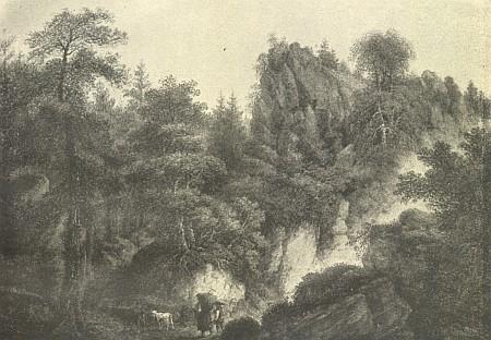 Hrad Kuglveit na obraze Ferdinanda Runka z roku 1822...