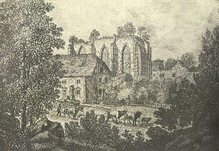Kostel v Kuklově na rytině kněžny Pauliny von Schwarzenberg zroku 1805