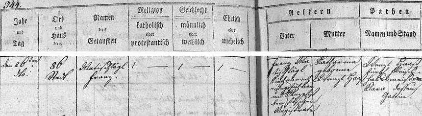 Českobudějovická matrika uvádí ho při narození 26. dubna roku 1810 po otci, který byl kancelistou při zdejším magistrátě, příjmením Matischlägl